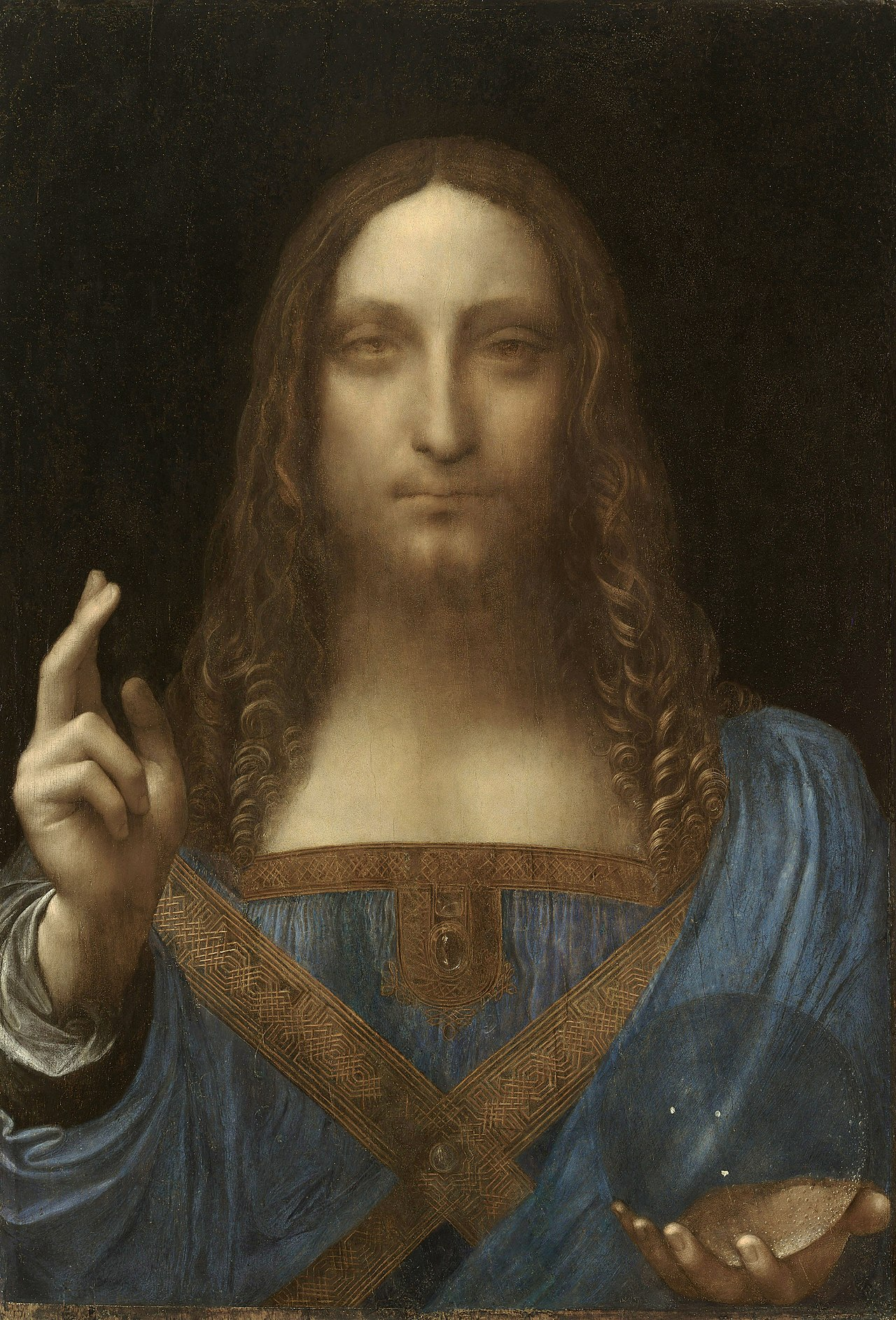 Salvator Mundi,c.1500 Leonardo da Vinci, oil on walnut 45.4 × 65.6 cm. Image from Wiki