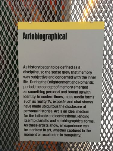 Autobiography section at White Cube Memory Palace
