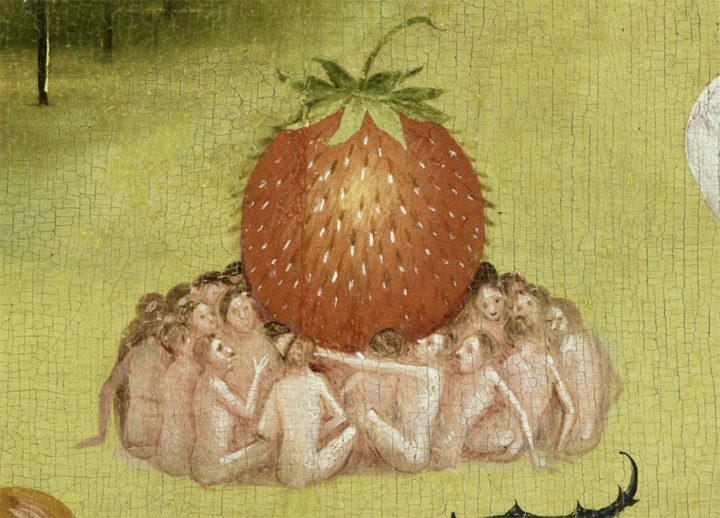 Detail from Hieronymus Bosch Garden of Earthly Delights: one of many strawberry symbolising the pleasure of forbidden fruit