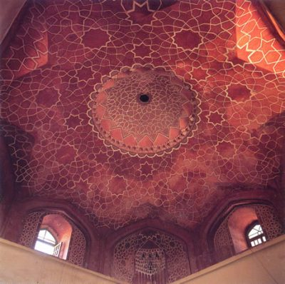 This stunning tour-de force of Timurid wallpainting is in NE Iran. The eight-pointed star 'floating' on the ceiling is covered with interlaced 5, 6 and 8-pointed stars, and there is a perfect 16-pointed star in the small central dome.
