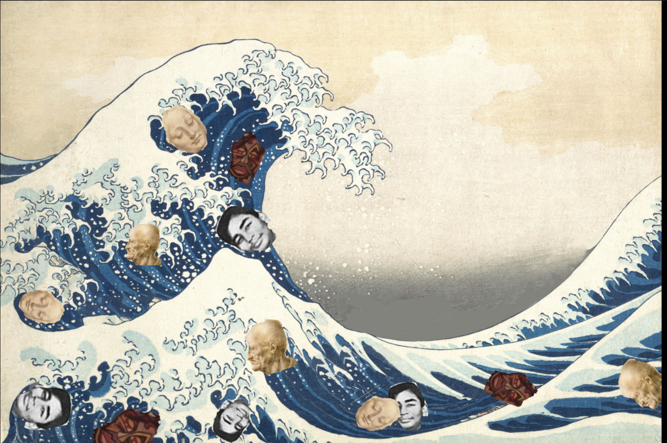 part of the Hokusai wave - with multicultural heads to show the black, brown and white people caught up and destroyed in the pandemic