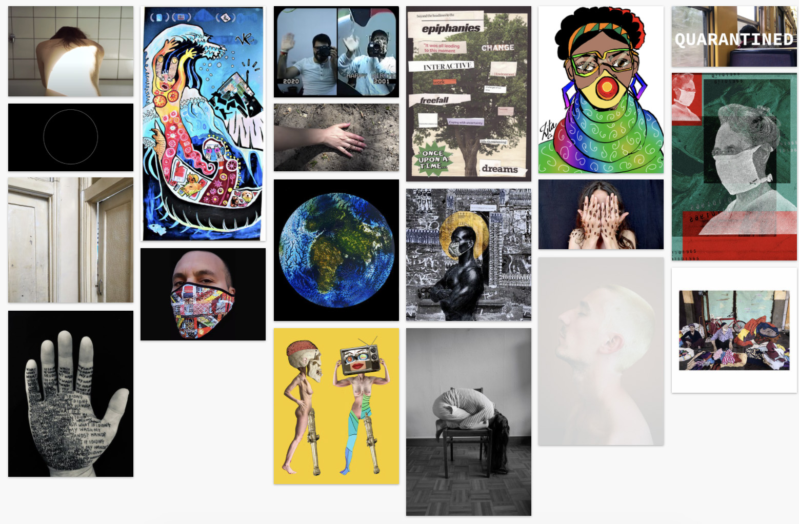 grid of thumbnails of submissions from artist in group exhibition