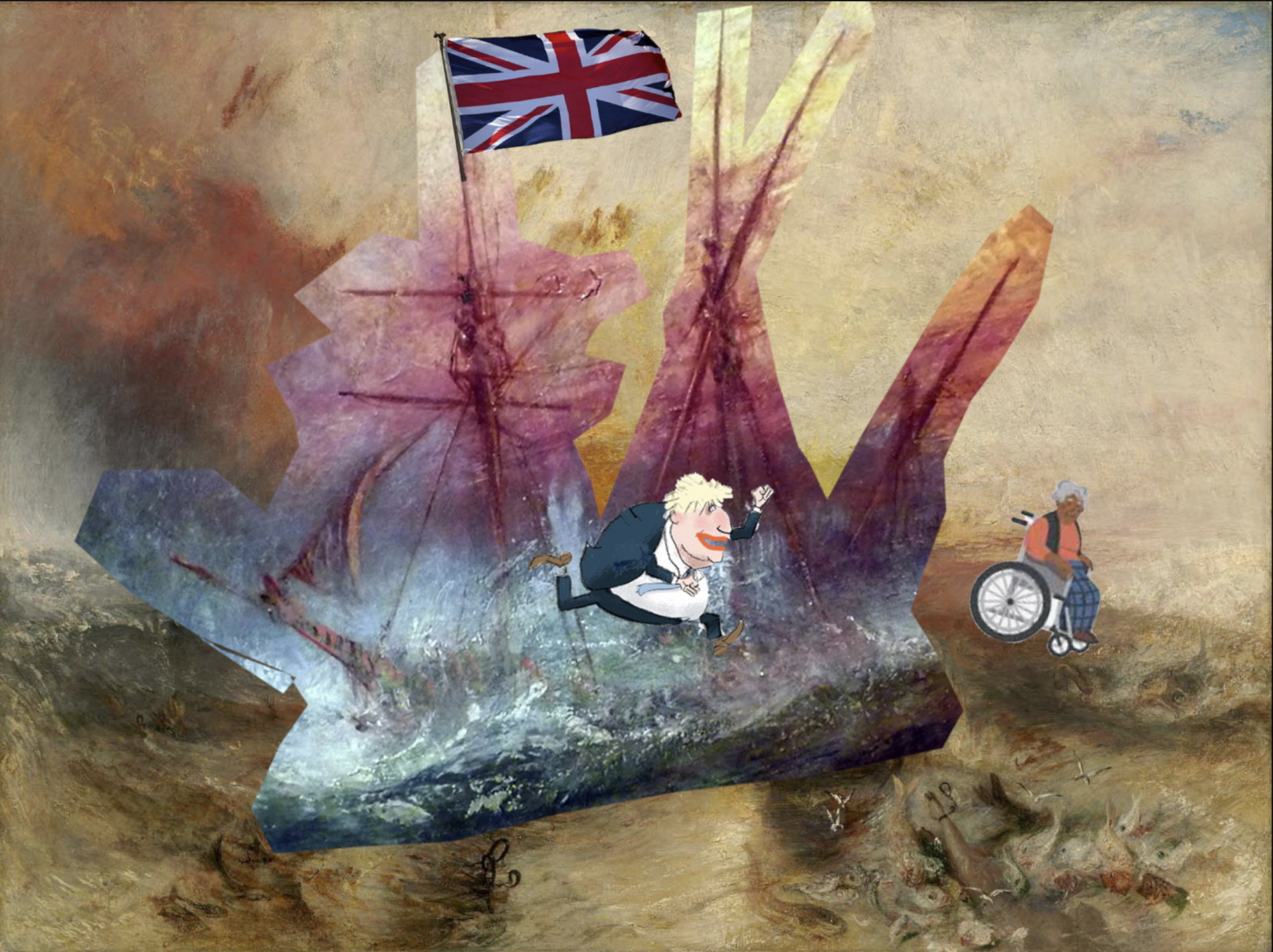 composite modified turners slave ship - with the ship on the painting to show the drowning slaves with added union jack on the maim=n mast plus cartoon of boris pushing a woman in a wheelchair off the back of the ship