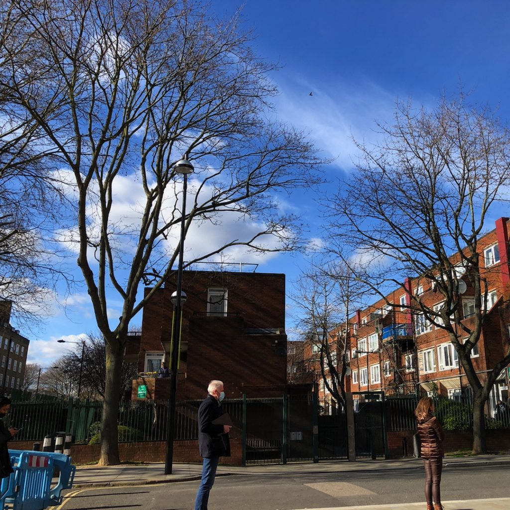 Three leafless trees have their black winter-skeletons crammed between multiple red-brick council blocks in this photograph. It's all set against a few perfect clouds in a gorgeous blue sky - behind a socially-distanced queue for Covid vaccinations
